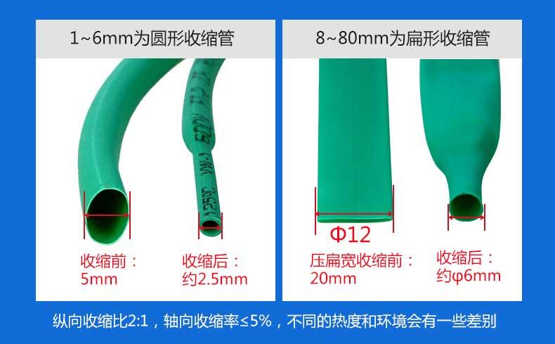 1-6mm为圆形收缩管,8-80mm为扁形收官
