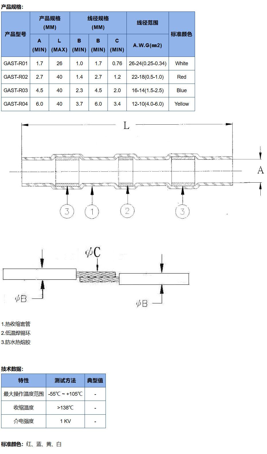 焊锡环热缩套管规格结构图