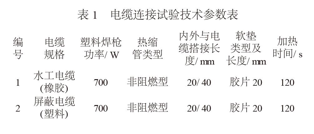 电缆连接试验技术参数表